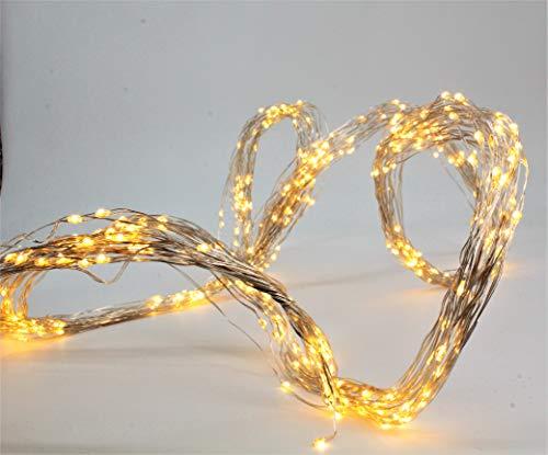 LED Regen 480 Lichter, Silberdraht, warmweiß
