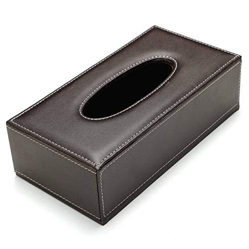 SunEast - Caja de pañuelos de piel sintética para decoración del hogar, oficina, coche, diseño de patrón de tallado, color plateado, piel sintética tela poliuretano, Rectangular, marrón