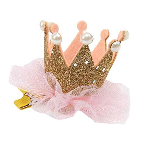 Diademas bebe , ❤️Amlaiworld Clips de pelo niñas Horquilla Accesorios para niñas Sombreros de corona de flor elástica de bebé diademas bebe niña bautizo (Oro)
