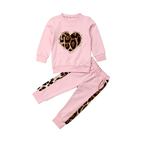 Toddler Baby Girl Fall Winter Clothes Leopard Heart Long Sleeve Tops Legging Pants Tracksuit Sweatsuit 2Pcs Outfit Set(A-Pink,3-4Years)