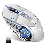 TENMOS T85 Raton Inalambrico Gaming,2.4G USB LED Recargable Inalámbrico silencioso óptico, Sleep...