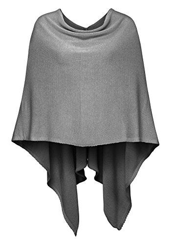 Cashmere Dreams Poncho-Schal aus Baumwolle - Hochwertiges Cape für Damen - Umhängetuch und Tunika - Strick-Pullover - Sweatshirt - Stola für Sommer und Winter Zwillingsherz,Einheitsgröße,Hellgrau