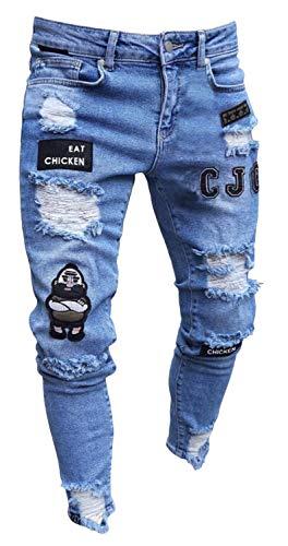 Pizoff Herren Superenge Skinny-Jeans in verwaschenem Blau mit Rissen an den Knien, Am018-blue, L