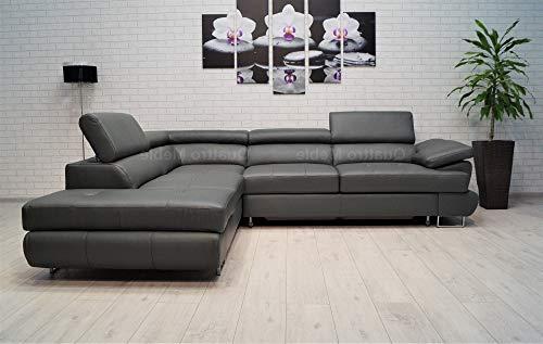 Quattro Meble grijze echt lederen hoekbank LTN 275 x 225 sofa bank met slaapfunctie, bedkast en hoofdsteunen echt leder hoekbank 275 x 225 Ecke Links
