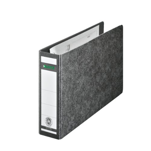 Leitz 10660000 Qualitäts-Ordner (für Sonderformate, Hartpappe (RC) mit Wolkenmarmor-Kaschierung, A5 quer, 5,5 cm Rückenbreite, 56 x 174 x 288 mm) schwarz