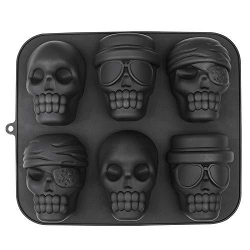 webake Halloween Totenkopf Backform 6er Kuchenform Silikon Schwarz