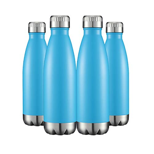 Water Bottles 4 Packs in Bulk Stainless Steel 17oz, Insulated Double Wall Vacuum Sports Fitness Hot Cold Reusable Beach Thermoses, Cola Shape Travel Metal Flask Sweat Proof Gifts for Bike Reef Blue