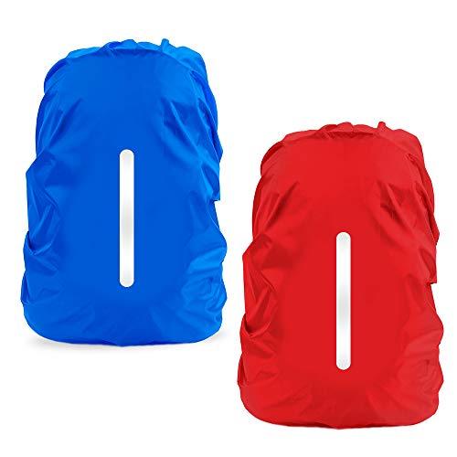 LAMA 2 Stück Wasserfeste Regenschutz Regenhülle Regenüberzug Regenhaube Regenabdeckung mit Reflexstreifen 2 Verstellschnalle für Rucksack Schulranzen Schultasche Wandern Camping Radfahren L 41L-55L