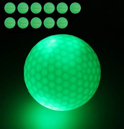 FHD 12 Stück Nacht Golfbälle, Leuchtstarker Leuchtstoffgolfball für das Beste Schlagturnier, Keine LED im Inneren Schlagen Sie den Ball mehr als 1000 Mal (12)