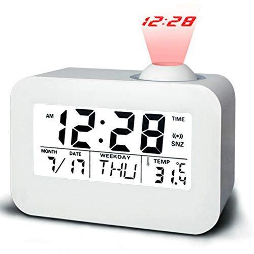 XHNXHN Reloj despertador LED Proyector Digital Reloj despertador Noche Pared Radio Reloj Mesa Escritorio Relojes Calendarios Pantalla de Temperatura Snooze