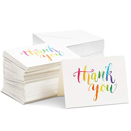 120-Pack Thank You Cards with Envelopes, Watercolor Design, Bulk Notes, Blank Inside, Colorful Rainbow Font for Baby Shower, Wedding, More, 5.1 x 3.7'