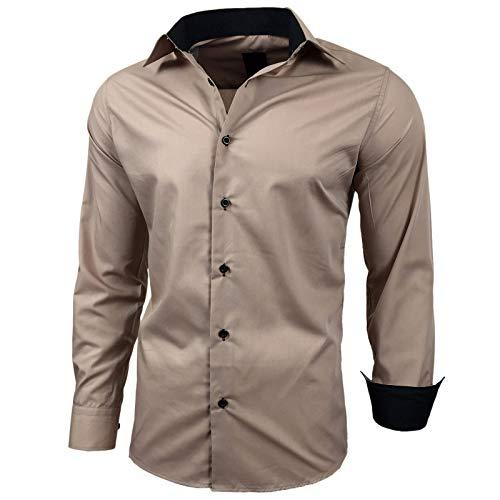Baxboy Herren-Hemd Slim-Fit Bügelleicht Für Anzug, Business, Hochzeit, Freizeit - Langarm Hemden für Männer Langarmhemd R-44, Größe:L, Farbe:Beige