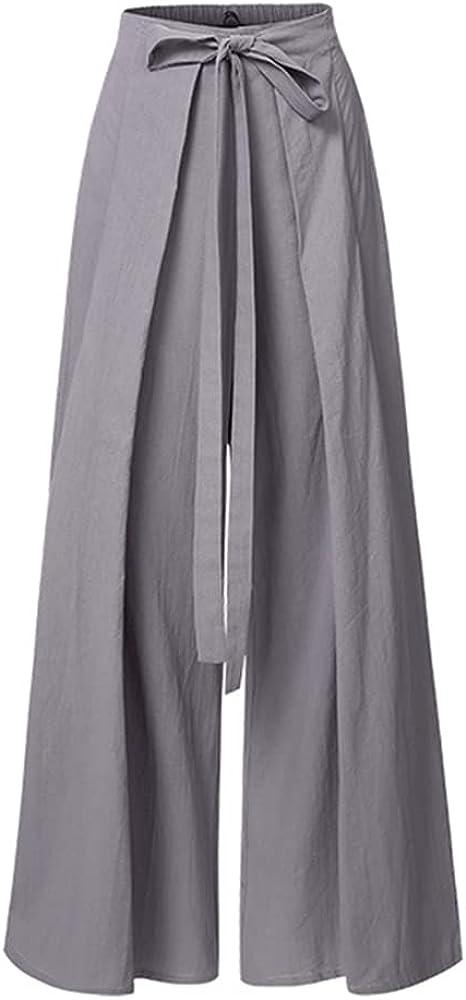 NP Women's Pants Waist Wide Leg Trousers Autumn Casual Loose Belted Pantalon Femme