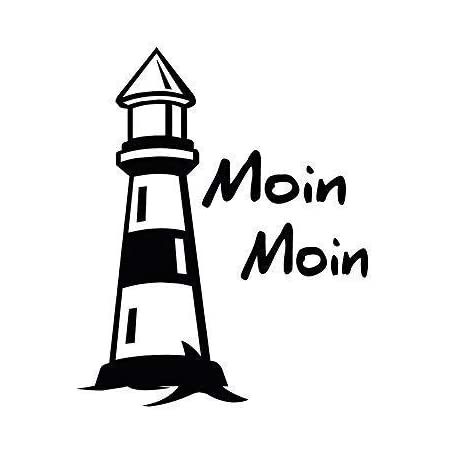 Auto Aufkleber Leuchtturm Moin Moin 302979 Gr 8 5cm X 10 5cm Versch Farben Farbe Schwarz Küche Haushalt
