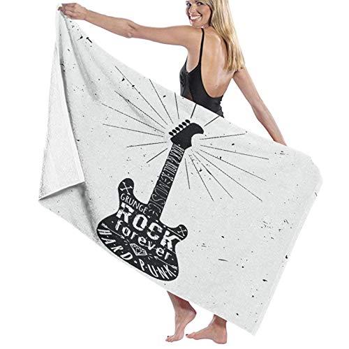 NINEHASA Toalla de Playa de Microfibra,Etiqueta de Guitarra Vintage de Estilo Grunge Rock and Roll con Sunburst, Diamante, Huesos, Flechas, Estrellas,Toalla Deportiva Secado Rápido Absorbente