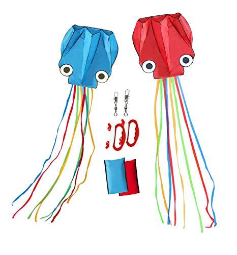 カイト 凧 立体 タコ 凧揚げ スカイカイト 紙鳶 おもちゃ プレゼント 骨なし 組み立て不要 微風で揚がる スポーツ アウトドア 子供 大人 2個セット 100M凧糸 凧と凧糸繋がる用クリップ2個付き  ハンドル 収納バッグ 付き 持ち運び便利