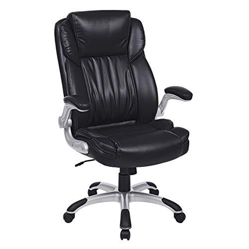 SONGMICS Bürostuhl, Chefsessel, Drehstuhl, breite Sitzschale mit Federkern, doppelt verdicktes Polster, hohe Rückenlehne, klappbare Armlehnen, mit Wippfunktion, Bezug aus PU Leder, schwarz, OBG94BK