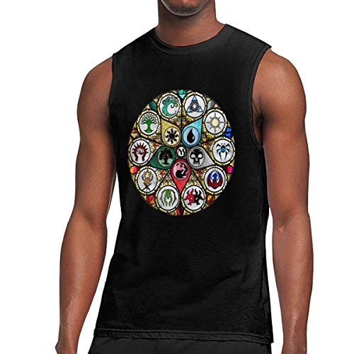 WLQP Camiseta sin Mangas para Hombre MTG-Magic The Gathering Stained Glass T Shirts Men