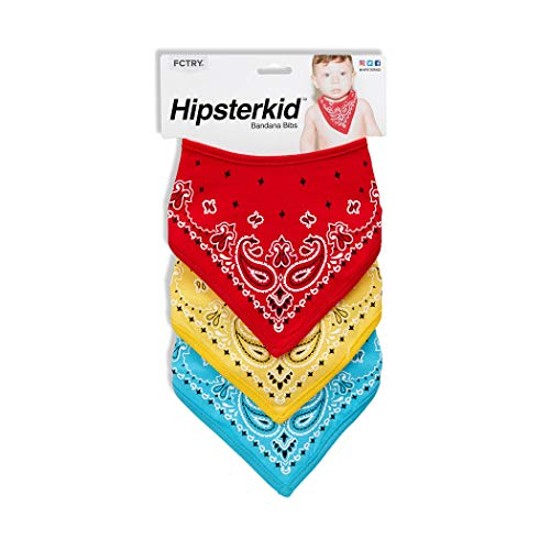 Hipsterkid Bandana Bibs, for Boys, Girls, Babies, Toddlers - Absorbent Mess Free - Soft Cotton/Polyester, Set of 3, Comes in, Red, Yellow, Blue