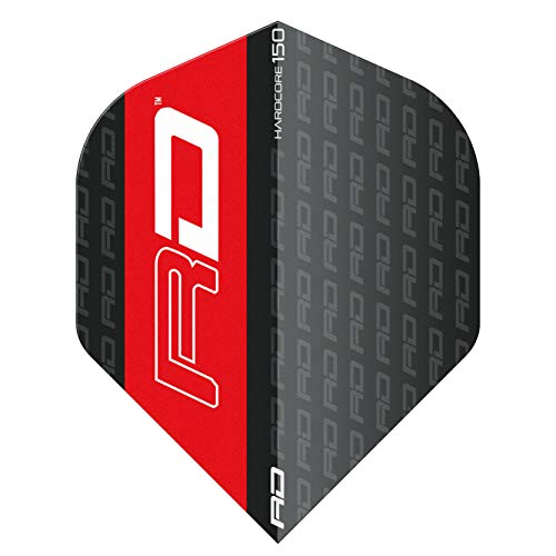 RED DRAGON Hardcore 150 Black with RD Logo Dart Flights - 3 Sets Per Pack (9 Dart Flights in total)