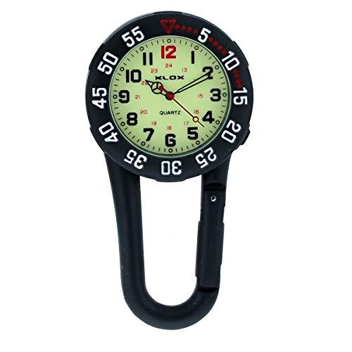 Klox Unisex-Taschenuhr für FOB-Armbanduhr Schwarz auf Karabiner Drehbare Lünette Leuchtendes Gesicht Ärzte Krankenschwestern Analoganzeige Quarzwerk