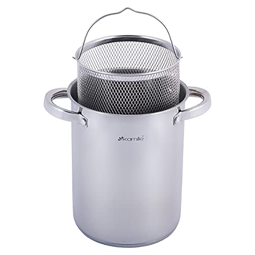 Asparagus Sauce Pot Induction Stainless Steel Pasta Pot Steamer Asparagus Vegetable Pot Glass Lid Sieve Spaghetti Pot 4L