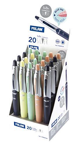 Expositor 20 bolígrafos Capsule Silver tinta azul MILAN