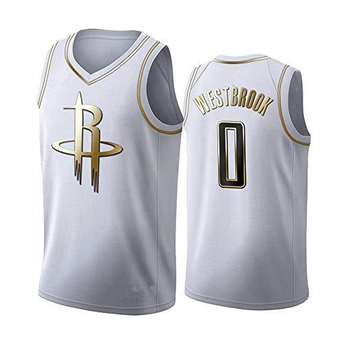 XXMM Camiseta para Hombre, Camiseta De Baloncesto NBA Houston Rockets # 0 Russell Westbrook, Ropa Deportiva De Entrenamiento Informal Sin Mangas, Tela Transpirable De Malla,M(170~175CM)