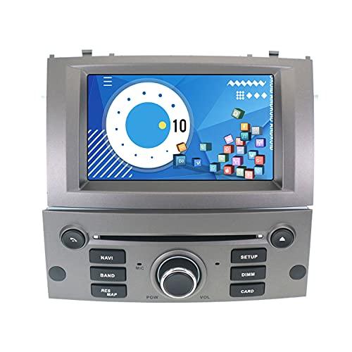ZWNAV 2 DIN Autoradio Navegación GPS para Peugeot 407 2004-2010 Android Pantalla táctil Reproductor de video para automóvil Receptor estéreo Unidad de pantalla Bluetooth (4G 64G PX6 DSP Carplay, Gris)