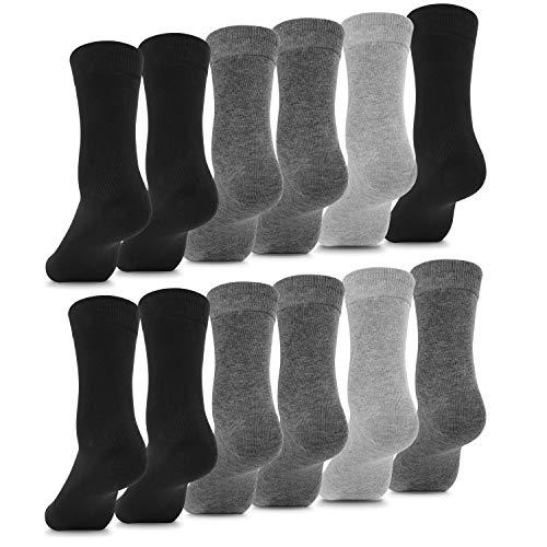 Fullluwaa Socken Herren Damen 12 Paar Business Schwarz Baumwolle Lange Komfortbund-S