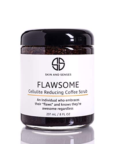 Flawsome 100% Natural Organic Arabica Ground Coffee Cellulite Reducing Body Scrub by Skin and Senses (8oz) — With Vitamin E, Carrot Seed Oil, and Coconut Oil