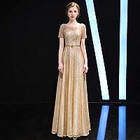 ドレス パーティードレス ウェディングドレス カラードレス ステージドレス Aライン マーメイド レディース aruka_anquetin L ゴールド