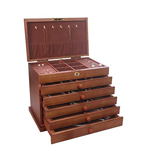 YUNLILI Organizador de Caja de joyería con 5 cajones Caja de Almacenamiento de Joyas de Madera Soporte de joyería de Madera Pantalla de Bandeja para Pendientes de Anillo Collar Pulsera Brazalete
