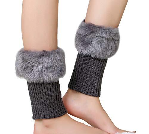 ASKEN - Juego de 3 pares de botas de punto para mujer, cómodas, elásticas, de piel