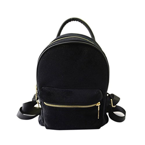 Yihaifu Frauen-beiläufige Velvet Rucksack Reißverschluss Handtaschen-Frauen-Beutel-Schulmädchenschultasche