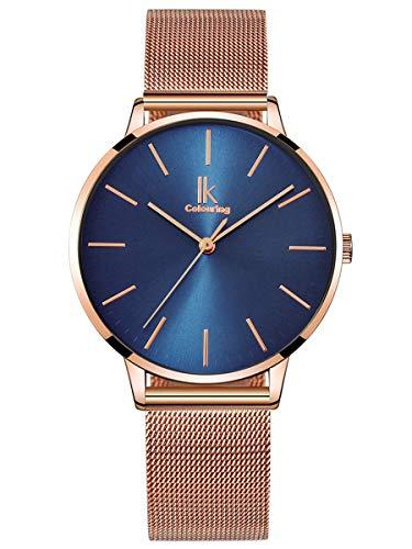 Alienwork Damen-Armbanduhr Quarz Rose-Gold mit Metall Mesh Armband Edelstahl blau Ultra-flach dünn