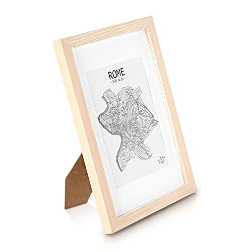 Classic by Casa Chic Marco de Fotos A4 con Paspartú para Foto de 15 x 20 cm - Madera de Pino - 1 Marco - Grosor del Marco 2 cm - Frente de Cristal Templado - Color Despintado