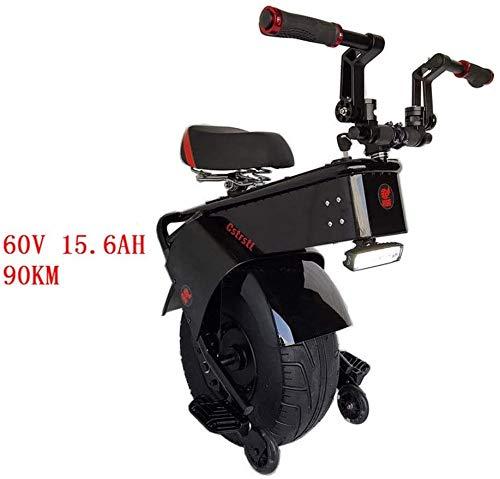 ZHANGDONG Leistungsstarke 1000W 60V Elektroroller EIN großes Rad selbst Ausgleich Roller Motorradreifen Elektroroller Einrad Erwachsene Größe: 90KM