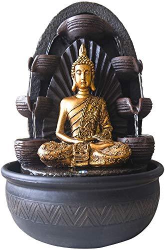 Zen Light Chakra Zimmerbrunnen mit Pumpe und LED-Beleuchtung, Kunstharz, Einheitsgröße