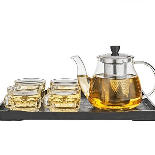 Bestand tegen hoge temperaturen, NHL verdikking, hoge temperatuur, theepot van glas, filter van roestvrij staal, theepot, kookplaat (theepot + 4 koppen + theeplaat) (kleur: A Een