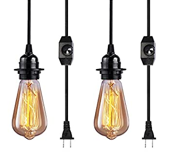 Vintage Plug in Hanging Light Kit Elibbren Industrial Style Pendant Lighting E26 E27 Lamp Socket 12.14FT Twisted Textile Black Cord with Dimmable On/Off Switch Plug in Lamp Fixture 2 Pack