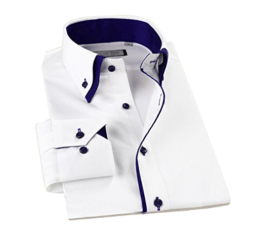 Lyon Becker DC01 Lässiges Hemd, Herren, langärmelig, doppelter Kragen, schlanke Passform, italienisches Design Gr. XL, blau