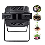 EJWOX Large Composting Tumbler - Dual Rotating Outdoor Garden Compost Bin, BPA Free/Easy Turn/Enough Height/Heavy Duty Capacity Composter(43 Gallon,Black)