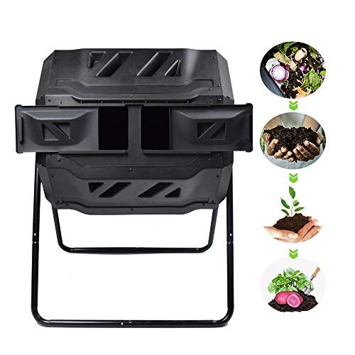 EJWOX Large Composting Tumbler - Dual Rotating Outdoor Garden Compost Bin, BPA Free/Easy Turn/Enough...