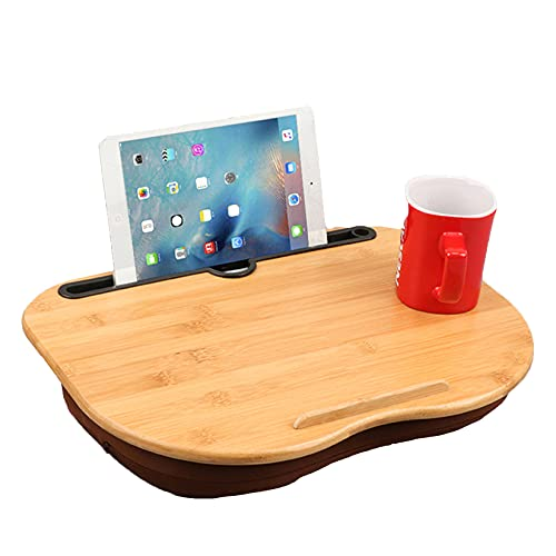 CCXX Bandeja portátil para portátil con ranura y tira antideslizante, escritorio de cama para portátil de hasta 14 pulgadas, bandeja de regazo con cojín para cama y sofá