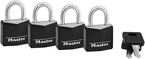 Wide 131Q 4 Pin Cylinder Keyed Alike Black 4Pack Master Lock Padlock 1-3//16 in