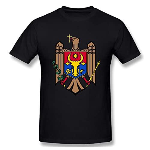 LETNNTOPE Eagle Moldova Flag Teen - Maglietta da uomo, girocollo, a maniche corte, con scollo rotondo, abbigliamento, Nero , M