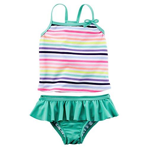 Carter's Baby Girl's Striped Ruffle Tankini Set 2T Turquoise