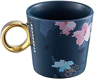 海外スターバックス 桜 マグカップ GOLD×NAVY