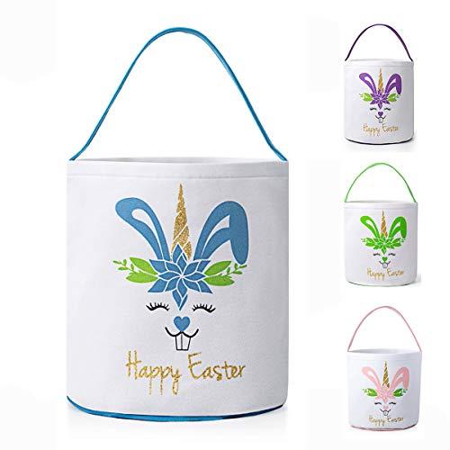 GSUIVER Easter Basket for Kids Easter Bunny Bag Easter Decorations (Blue)